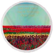 Message From The Other Side With A Bit Of Christmas Color Cheer Round Beach Towel