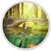 Round Beach Towel featuring the digital art Message In A Bottle by Nathan Wright