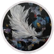Round Beach Towel featuring the painting Message Received by Judith Rhue
