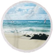 Round Beach Towel featuring the photograph Messengers Of Light by Sharon Mau