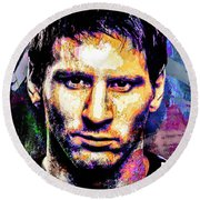 Round Beach Towel featuring the mixed media Messi by Svelby Art