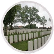 Messines Ridge British Cemetery Round Beach Towel by Travel Pics