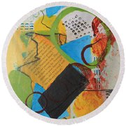 Messy Circles Of Life Round Beach Towel