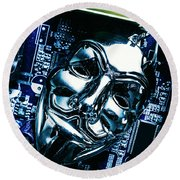 Metal Anonymous Mask On Motherboard Round Beach Towel