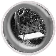 Metal Bench In Sedona Round Beach Towel by Claudia Goodell