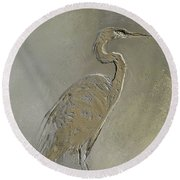 Metal Egret 3 Round Beach Towel
