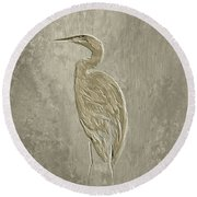 Metal Egret 4 Round Beach Towel