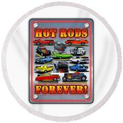 Metal Hot Rods Forever Round Beach Towel