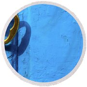 Round Beach Towel featuring the photograph Metal Knob Blue Door by Prakash Ghai