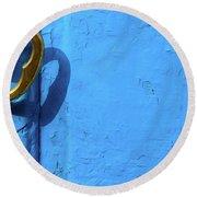 Metal Knob Blue Door Round Beach Towel by Prakash Ghai