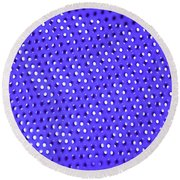 Metal Panel Blue Abstract Round Beach Towel by Tom Janca
