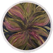 Metallic Flower Round Beach Towel