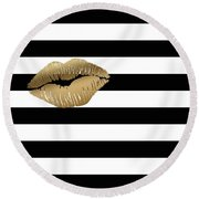 Metallic Gold Lips Black And White Stripes Round Beach Towel