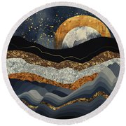 Metallic Mountains Round Beach Towel