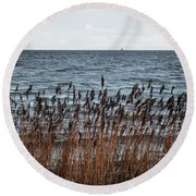 Metallic Sea Round Beach Towel by Ana Mireles