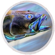 Round Beach Towel featuring the painting Metallic Trout by Phyllis Beiser