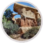 Round Beach Towel featuring the photograph Metate Arch - Devils Garden by Nikolyn McDonald