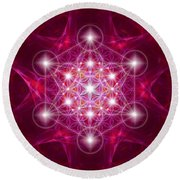 Metatron Cube With Flower Round Beach Towel