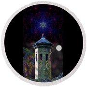 Round Beach Towel featuring the digital art Metatron Nocturnal by Iowan Stone-Flowers