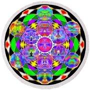 Round Beach Towel featuring the digital art Metatron's Cosmic Ascension by Derek Gedney