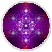 Metatron's Cube Colors Round Beach Towel