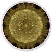 Metatron's Cube Geometric Round Beach Towel by Alexa Szlavics