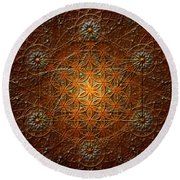 Metatron's Cube Inflower Of Life Round Beach Towel