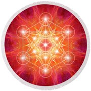 Metatron's Cube Light Round Beach Towel
