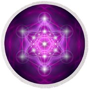 Metatron's Cube Purple Round Beach Towel