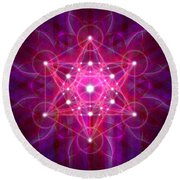 Metatron's Cube Reflection Round Beach Towel