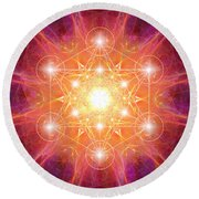 Metatron's Cube Shiny Round Beach Towel