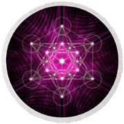 Metatron's Cube Waves Round Beach Towel