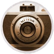 Round Beach Towel featuring the photograph Meteor Film Camera by Mike McGlothlen