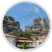 Meteora In Greece Round Beach Towel