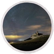 Meteors Above The Fortress Round Beach Towel