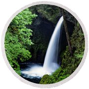 Metlako Falls Waterfall Art By Kaylyn Franks Round Beach Towel