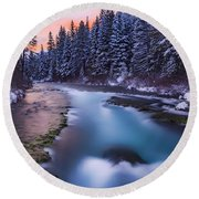 Round Beach Towel featuring the photograph Metolius Sunset by Cat Connor