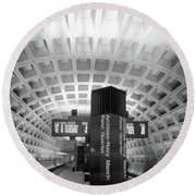 Round Beach Towel featuring the photograph Metro Station D C by John S