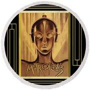 Metropolis - Frame 5 Round Beach Towel