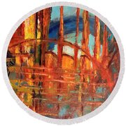 Round Beach Towel featuring the painting Metropolis In Space by Nicolas Bouteneff