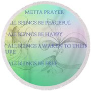 Metta Prayer Round Beach Towel