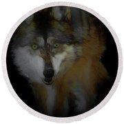 Mexican Grey Wolf Da2 Round Beach Towel