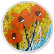 Mexican Sunflowers Flower Garden Round Beach Towel