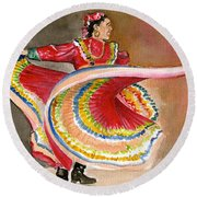 Mexico City Ballet Folklorico Round Beach Towel by Frank Hunter