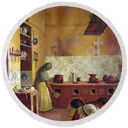 Round Beach Towel featuring the photograph Mexico: Kitchen, C1850 by Granger