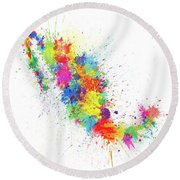 Mexico Paint Splashes Map Round Beach Towel