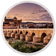 Mezquita In The Evening Round Beach Towel by Marion McCristall