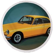 Mgb Gt 1966 Painting  Round Beach Towel