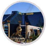 Mgm Grand Hotel Casino Round Beach Towel by Mariola Bitner