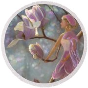 Round Beach Towel featuring the painting Mia Magnolia Fairy by Nancy Lee Moran